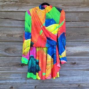 MSGM Womens Multicolor Long Sleeve Dress